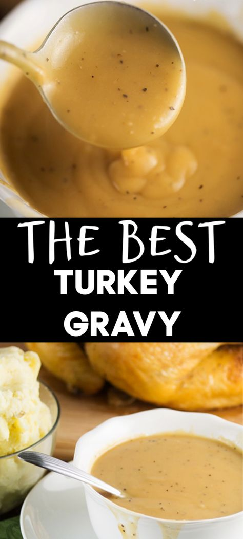 The Best Turkey Gravy Perfect Turkey Gravy Recipe with instructions to make it with or without drippings. All you need is butter, flour, black pepper, chicken or turkey stock and/or drippings! Perfect for feeding a crowd on Thanksgiving! Thanksgiving Dinner Recipes, Thanksgiving Sides, Holiday Recipes, Thanksgiving Crafts, Thanksgiving Decorations, Thanksgiving Gravy, Thanksgiving Cupcakes, Hosting Thanksgiving, Thanksgiving Activities