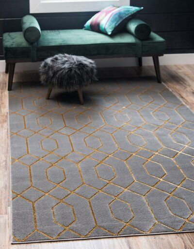 Glam Gray And Gold Area Rug Area Rug Dining Room Blue And Gold