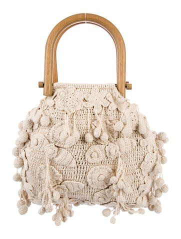 Creme Crocheted Stella Mccartney Handle Bag With Mixed Tone Hardware Dual Wooden Handles Crocheted Pom Poms And Flowers Through Bags Knitted Bags Crochet Bag