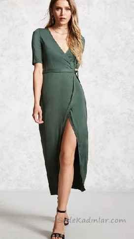 Bordo Dantel Askili Onden Yirtmacli Elbise Elbise Elbise Modelleri Giyim