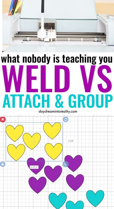 What Do Weld, Attach, & Group mean on Cricut – A MUST read tutorial - what do weld. attach, and group do in Cricut design spacce - Welding Projects, Vinyl Projects, Welding Art, Metal Welding, Welding Ideas, Welding Tools, Art Projects, Cricut Craft Room, Cricut Vinyl