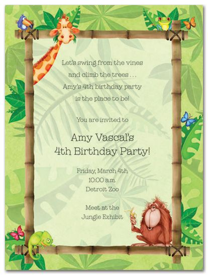 Rainforest Fun Birthday Party Invitations Warren Pinterest