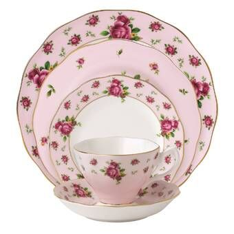 Hertford Bone China 5 Piece Place Setting Service For 1 Pink Dinnerware Country Roses China Dinnerware Sets