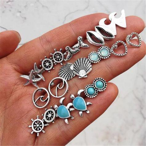 12 Pairs Mix Cute Earrings Sea Turtle Mermaid Tail Rudder Ear Stud Earrings Set #Graceangie #Stud