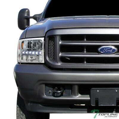 Details About Topline For 1999 2004 Ford F250 F350 Chrome Led Headlights Signal Amber Ks 1p In 2020 F250 Ford F250 F350