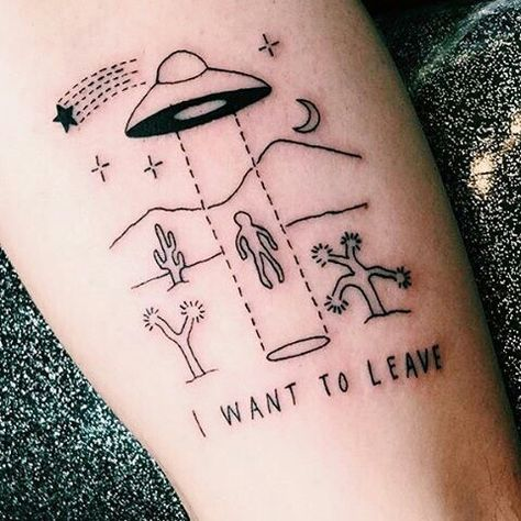 alien, tattoo, and grunge image