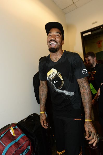 R Smith of the Cleveland Cavaliers celebrates after winning Game