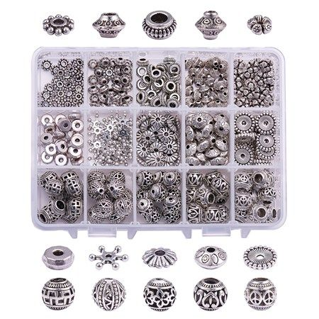 300PCS Flower Alloy Charm Bead Spacers Jewelry Making Finding Necklace  Bracelet