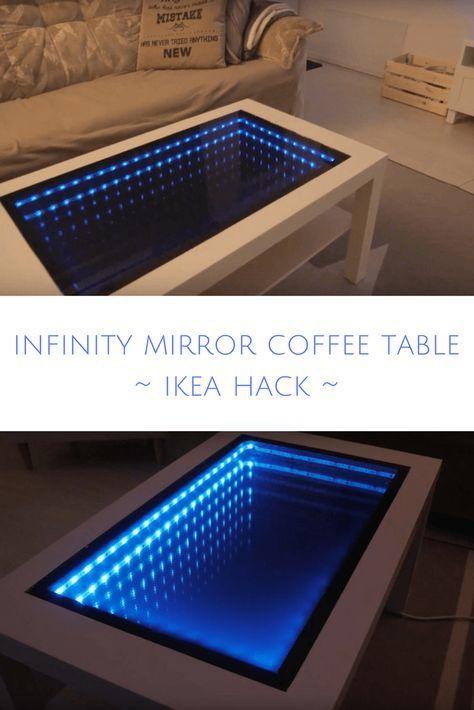 How I Transformed An Ikea Table Into An Infinity Mirror Coffee Table Mirrored Coffee Tables Mirror Table Diy Ikea Table