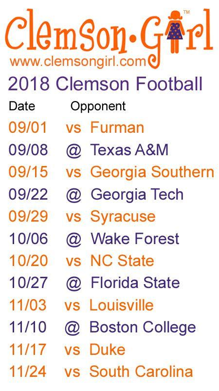 2018 Clemson Football Schedule Clemson Football Schedule Clemson Football Clemson