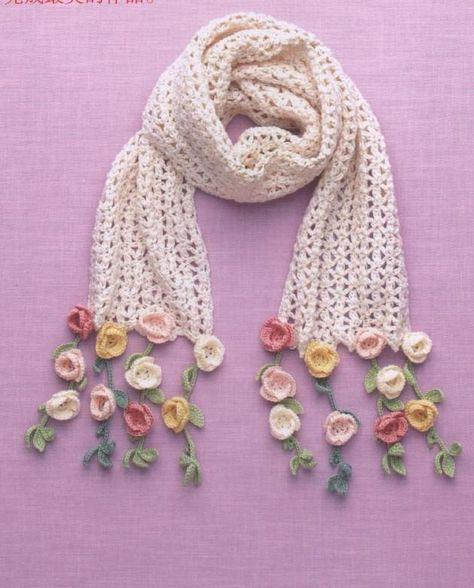 Ideas For Crochet Cowl Hat Yarns Crochet Flower Scarf, Crochet Flower Patterns, Freeform Crochet, Crochet Scarves, Crochet Designs, Crochet Flowers, Crochet Lace, Crochet Stitches, Knitting Patterns