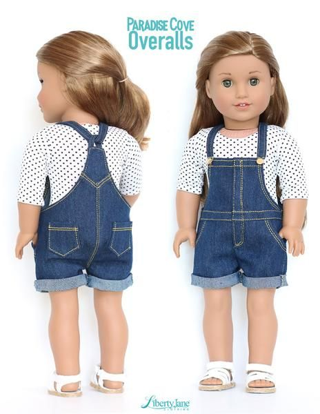 Hot ~ Fit to 18-inch Girl Doll Handmade Yellow Denim Shoulder Strap Jumpsuit New