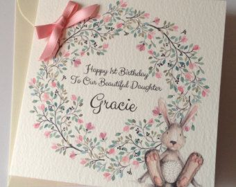 Cute Personalised 1st Birthday Card Daughter Granddaughter 1st Birthday Cards Birthday Cards Cards Handmade