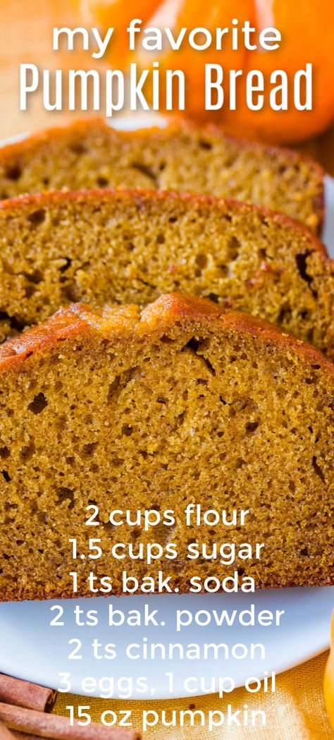 Our go-to recipe for pumpkin bread. It& crazy easy - mix the wet ingredients, mix the dry ingredients and combine. This is super moist and you can freeze it. Everyone loves this pumpkin bread recipe! Delicious Desserts, Dessert Recipes, Yummy Food, Easy Fall Desserts, Chocolate Chip Muffins, Chocolate Chips, Pumpkin Dessert, Pumpkin Cheesecake, Dessert Bread