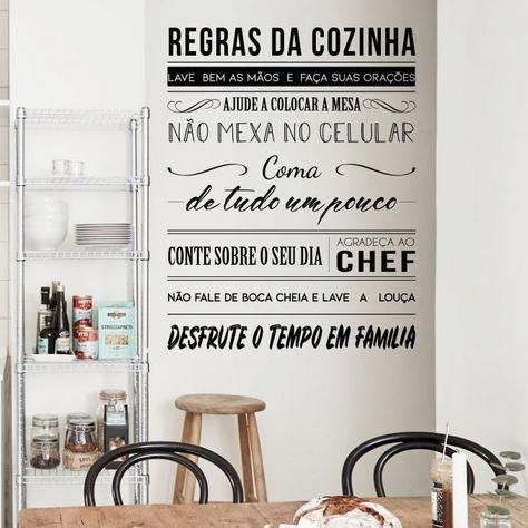 Regras Da Cozinha Com Imagens Adesivo De Parede Frases