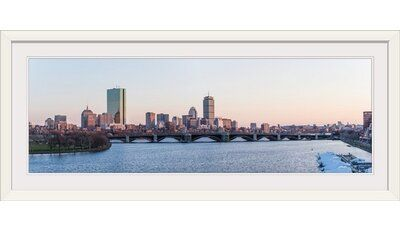 Great Big Canvas Boston City Skyline At Dusk Photographic Print Format White Frame Size 20 H X 44 W X 1 D In 2020 Great Big Canvas City Skyline Skyline