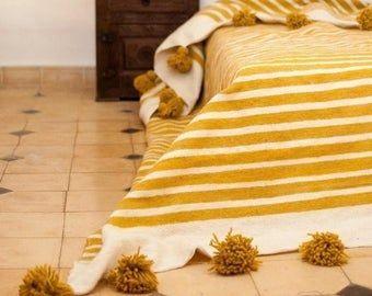 Moroccan Blanket Moroccan Pompom Blanketbedroom Etsy Moroccan Throw Blanket Moroccan Blankets Bedroom Blanket