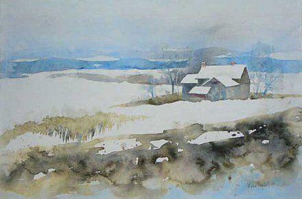 Lydia Leydolf Winterlandschaft 2 Wasserfarben Landschaften