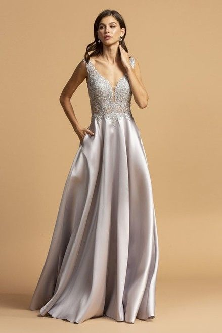 Prom 222 Silver Scallop Embellished Satin Ball Gown With Illusions And Pockets Front View In 2020 Prom Dresses With Pockets Long Prom Gowns Ball Gowns