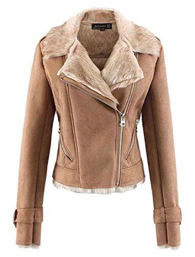 afc29cf2a8b $63.67 - Beloved Women Winter Oblique Zipper Lapel Suede Fur Lined Slim Fit  Motorcycles Jackets