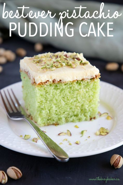 This Best Ever Pistachio Pudding Cake Is So Moist And Flavourful With The Perfect Combination Of Pistachio And Cream. A Tender Pistachio-Flavored Cake Is Topped With A Simple Cream Cheese Frosting And Crushed Nuts Recipe From Thebusybaker. Pistachio Pudding Cake, Pistachio Dessert, Pistachio Recipes, Pistachio Bread, Pistachio Cupcakes, Food Cakes, Cupcake Cakes, Just Desserts, Delicious Desserts