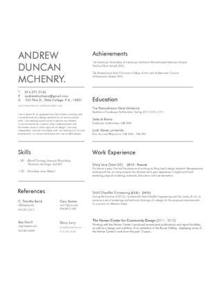 Andrew McHenry - Landscape Architecture Portfolio Architecture - landscaping skills resume