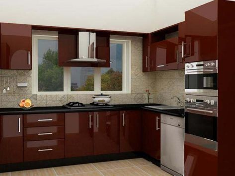 Image Result For Maroon Color Kitchen Cabinets
