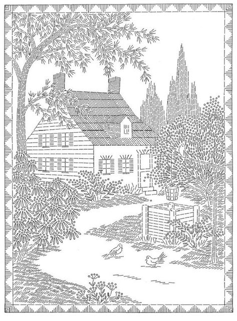 Two Story Cottage - House - English Garden, Picture 3160 Digital Hand Embroidery pattern 14