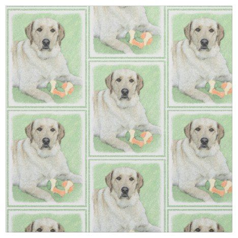 Yellow Labrador Retriever Tennis Balls Painting Fabric In 2020 Labrador Retriever Yellow Labrador Retriever Labrador