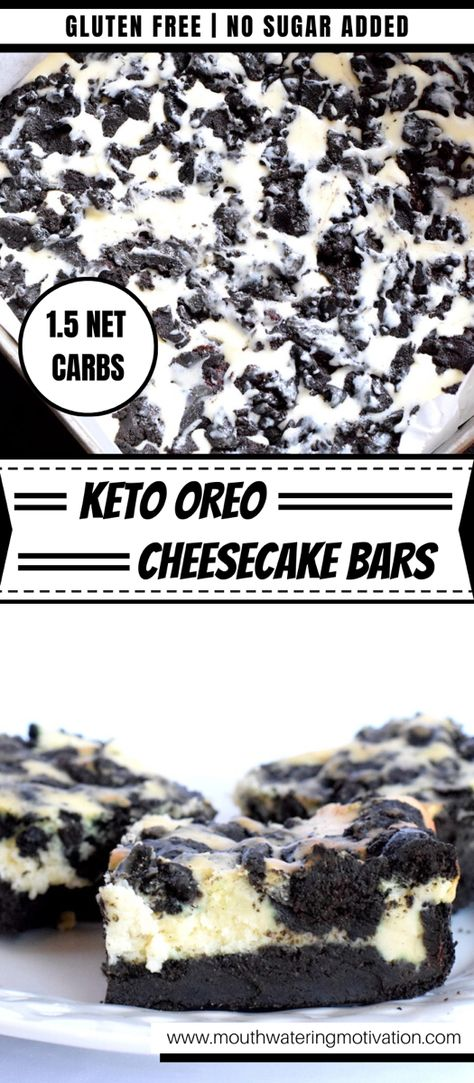 Oreo Cheesecake Bars, Sugar Free Cheesecake, Low Carb Cheesecake, Bon Dessert, Keto Dessert Easy, Dessert Recipes, Dessert Bars, Keto Cookies, Low Carb Desserts