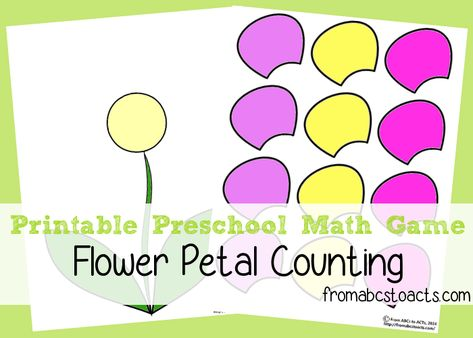 Printable Preschool Math Games - Counting Flower Petals