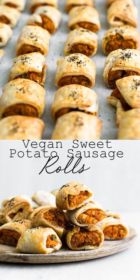 Delicious Vegan Sweet Potato Sausage Rolls with Chickpeas, Gochujang, Chives and delicious Puff Pastry. Vegan and Ready in under an Hour. #sausagerolls #vegan #sweetpotato #christmas #snack #party #veganrecipes #simple #healthy