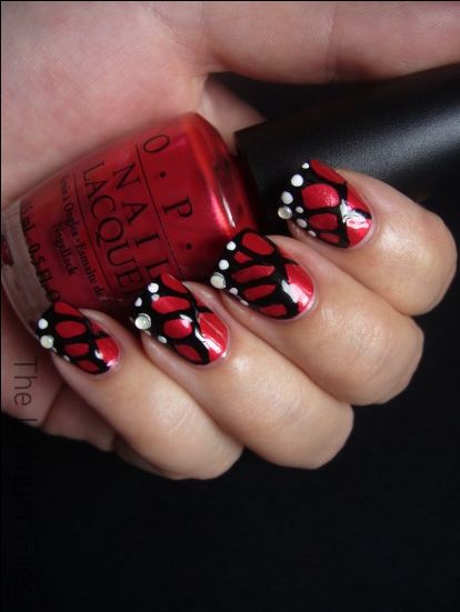 The Lacquer Files Inspired By Butterfly Nail Red Nail Art Designs Butterfly Nail Art