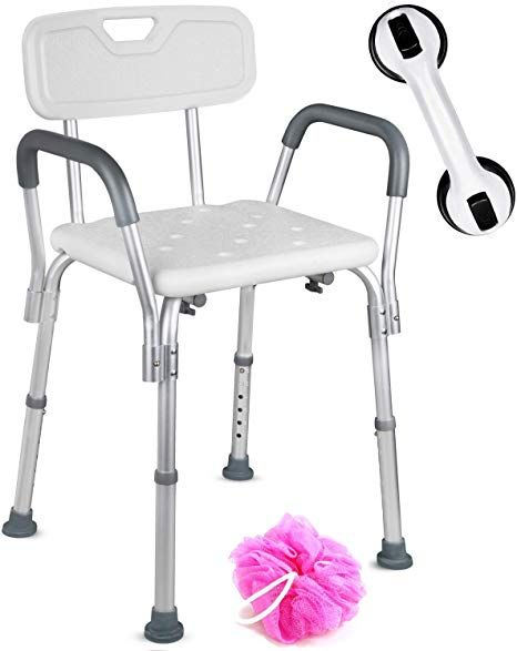 Dr Maya Adjustable Bath And Shower Chair With Free Suction Assist Shower Handle Large White Ant Shower Chair Portable Shower Chair Portable Shower
