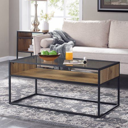 Mainstays Atmore 40 Inch Cube Coffee Table With Glass Top Brown
