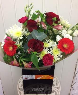 Valentines Three Red Roses And Mixed Flowers Hand Tied Bouquet Booker Flowers And Gifts Valentines Flowers Flowers Delivered Same Day Flower Delivery