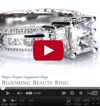 http://www.BloomingBeautyRing.com #VintageDiamondWeddingRings #VintageRadiantEngagementRings #VintageSettings #VintageRings MostUniqueWeddingRings