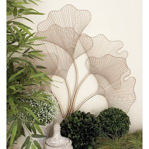 Modern Reflections Iron Wire Fan Leaves Wall Du00e9cor Gold Finish 5 Fan Shape Burst Style Wire Leav Flower Wall Decor Medallion Wall Decor Wall Decor Design