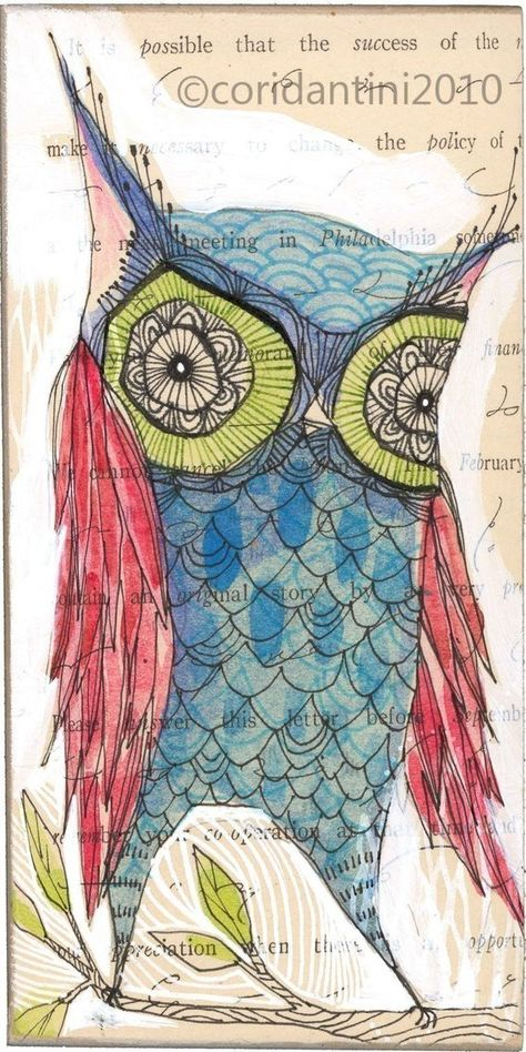 blue owl -drawing over watercolor -perdita - 5 x 10 inches - limited edition and Archival by cori dantini by corid on Etsy