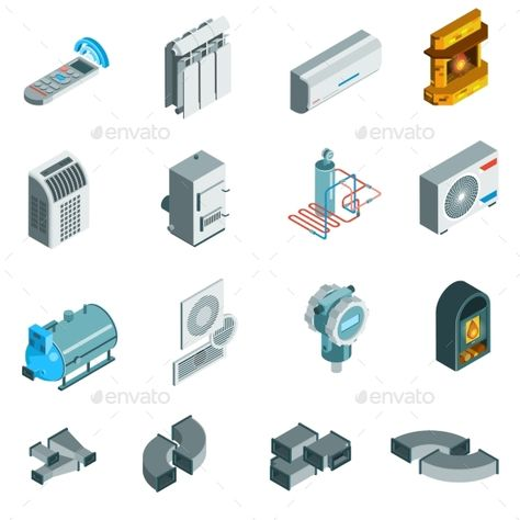 Heating Cooling System Isometric Icons Set Heating Cooling