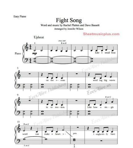 Everalive Fight Song Easy Piano Sheet Music Easy Piano Sheet