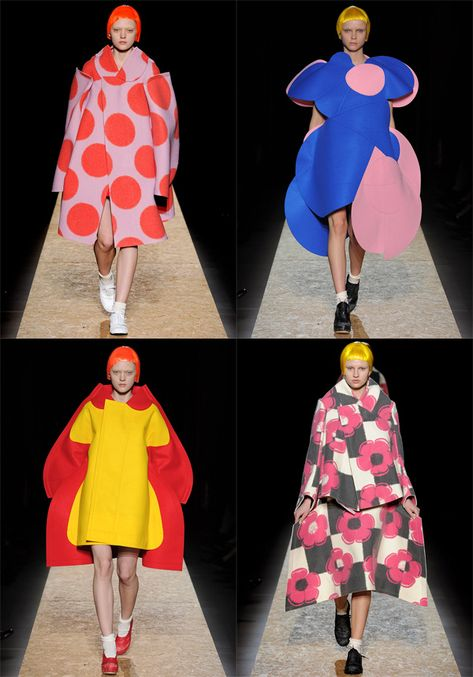 Rei Kawakubo - A/W collection 2012 A visual theatre of models in oversize flat shapes of bold colour and pattern reminiscent of a matisse painting.