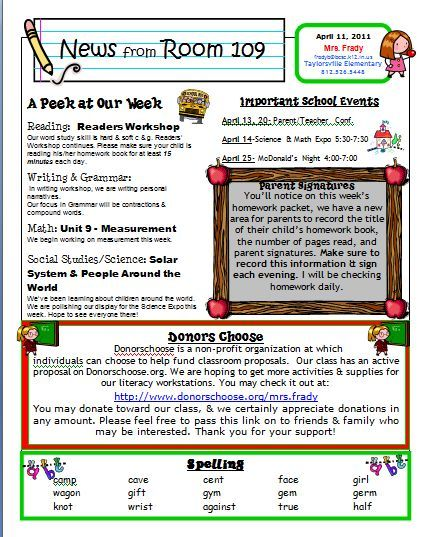 classroom newsletter examples