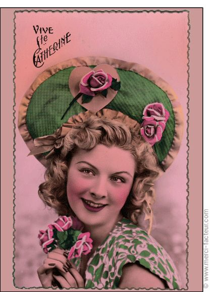 Carte postale Bonne fête de Sainte Ste Catherine vive girl bleu !