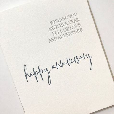 """""""Wishing you another year full of love and adventure - happy anniversary""""Letterpress greeting card with kraft envelope- A2 (4.25x5.5 when folded) greeting card on 100% cotton white paper- Blank InsideMade in the USAFree shipping is included with this listing via First Class Mail. Single card orders ship without tracking to make our prices economical for our customers. We do provide tracking for orders of 2 or more cards - they also ship via First Class Mail but include the tracking add on. If yo"""