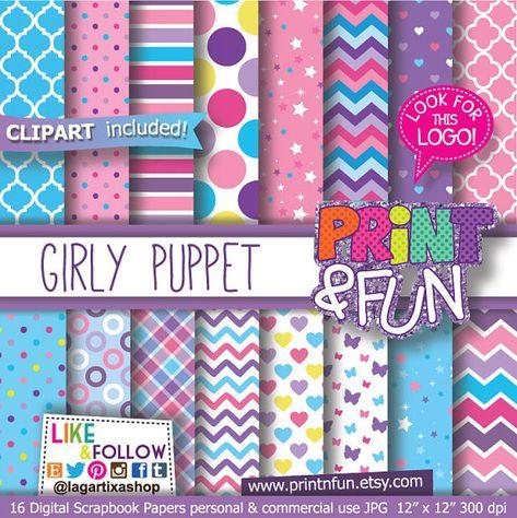 Girly Puppet, Pink, Purple, Celeste blue, Patterns, Digital Paper, clipart, clip art, PNG, blue, pink, yellow, fuchsia butterflies, chevron