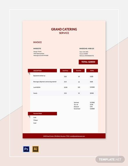Instantly Download Editable Catering Service Invoice Template Sample Example In Adobe Photoshop Invoice Template Invoice Design Template Catering Services