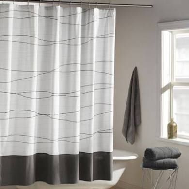 Dkny Wavelength Shower Curtain In Grey Charcoal Gray Shower