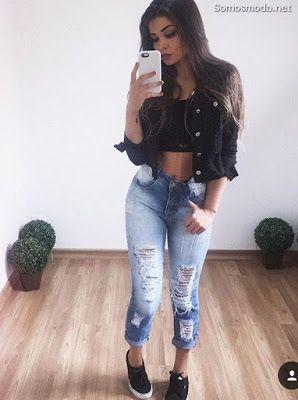 Pantalones Rotos De Mujer Pantalones Rotos Mujer Jeans Roto Mujer Moda