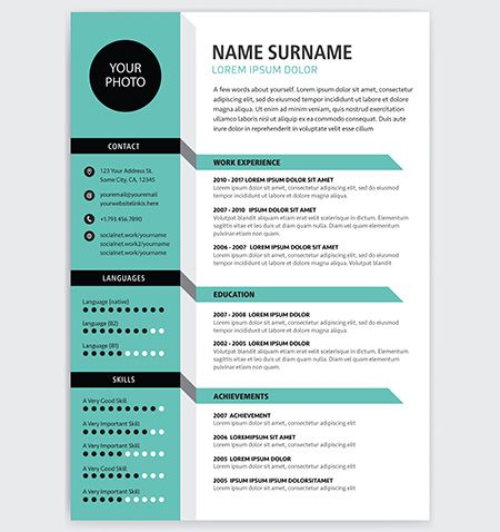 Creative Cv Resume Template Teal Green Background Color Minimalist Vector Creative Cv Cv Resume Template Resume Design Creative